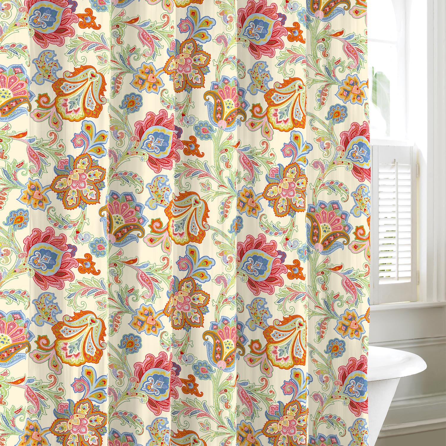 New Tommy Hilfiger Floral Paisley Design Cotton Shower Curtain | eBay
