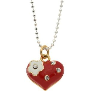 Charming Life Silver/ Steel Crystal and Enamel 'Daisy Heart' Necklace