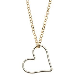 Charming Life Sterling Silver and 14K Goldfill 'To the Center of My Heart' Heart Charm Necklace