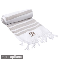 Authentic Fouta Tan Bold Stripe Turkish Cotton Bath/ Beach Towel with Monogram Initial