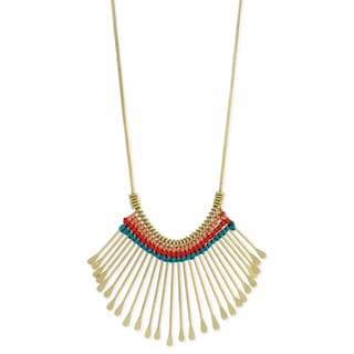 Handcrafted Goldtone Colorful Thread Accented Necklace (India)