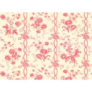 Red Jacobean Floral Stripe Wallpaper