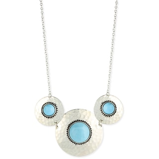 Handcrafted Hammered Faux Turquoise Medallion Necklace (India)