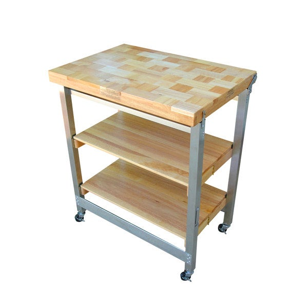 Oasis Concepts Stainless Steel/ Wood Flip Fold Kitchen Island