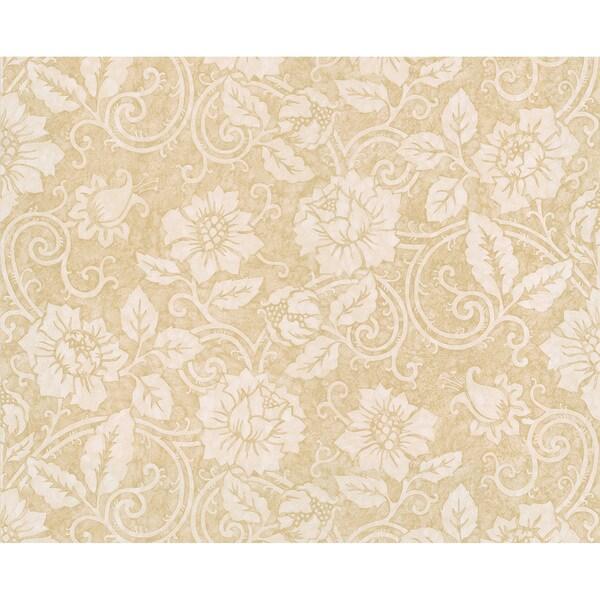 Beige Floral Scroll Wallpaper