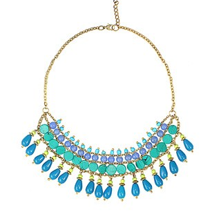 Handcrafted Shades of Blue Goldtone Drape Necklace (India)