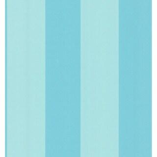 Aqua Wide Stripe Wallpaper