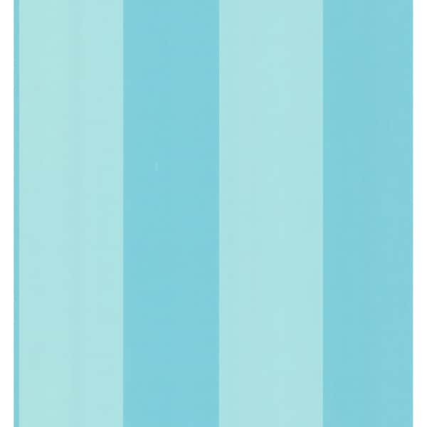 Aqua Wide Stripe Wallpaper