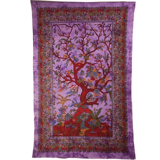 Purple Haze Tree of Life Cotton Tapestry (India)
