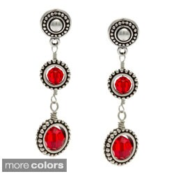 Charming Life Silver Framed Round Crystals Drop Earrings
