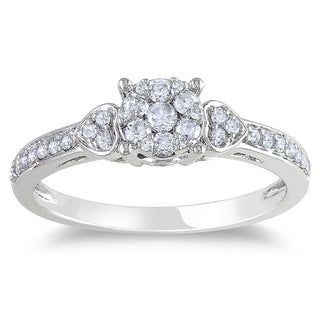Miadora 14k White Gold 1/3ct TDW Diamond Cluster Engagement Ring (G-H, I1-I2)