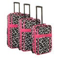 World Traveler Designer Pink Giraffe 3-piece Expandable Upright Luggage Set