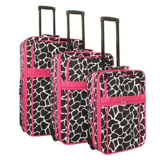 World Traveler Designer Giraffe 3-Piece Expandable Wheeled Upright Luggage Set