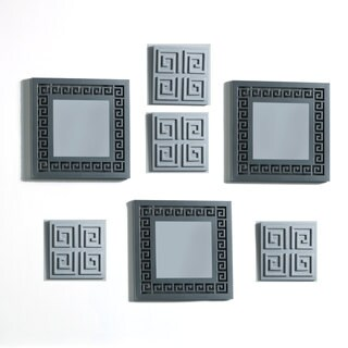 Elements Silver Greek Key Mirror Plaques (Set of 7)