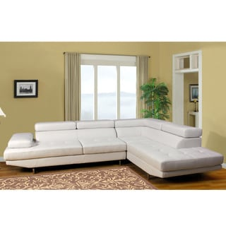 2-piece White Bonded Leather Sectional