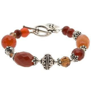 Charming Life Pewter Carnelian Bead 'Sun of Fall' Bracelet