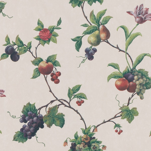 Brewster Green Fruit Trail Wallpaper