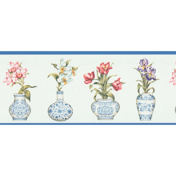 Brewster Blue Vintage Botanical Border