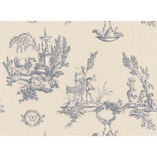 Brewster Blue Vintage Toile Scenic Wallpaper