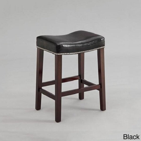Black or Red Leather Nailhead Saddle Counter Height Bar Stool (Set of 2)