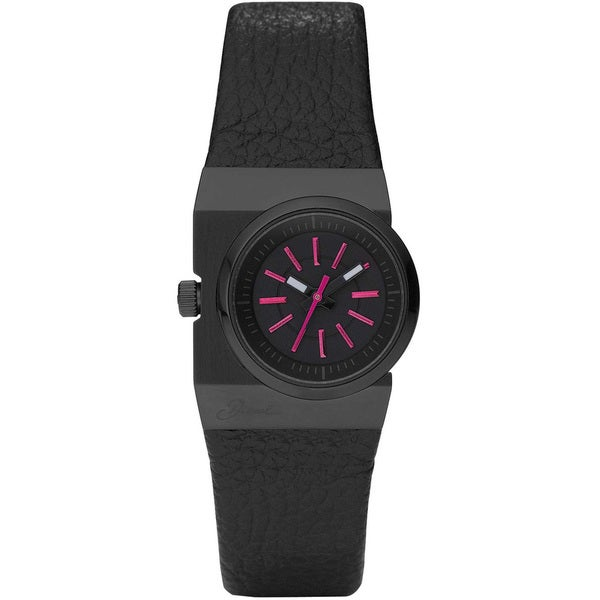 Diesel Women's Black/ Pink Leather Strap Watch