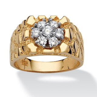 PalmBeach Men's .75 TCW Round Cubic Zirconia 18k Gold over Sterling Silver Nugget-Style Ring