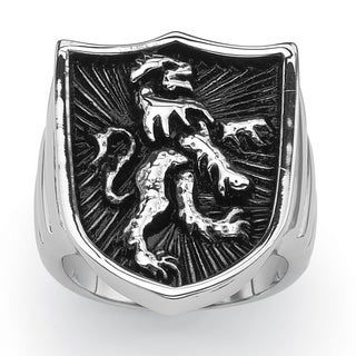 PalmBeach Stainless Steel Men's Coat of Arms Lion Shield Ring