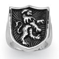 Neno Buscotti Stainless Steel Men's Coat of Arms Lion Shield Ring