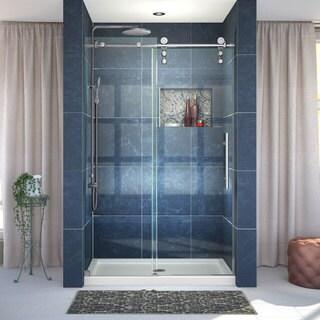 DreamLine Enigma-Z Frameless Sliding Shower Door and 36x48-inch Shower Base