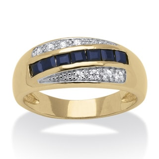 Neno Buscotti Gold Overlay Men's Sapphire and Cubic Zirconia Ring