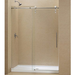 DreamLine Enigma-Z Frameless Sliding Shower Door and 34x60-inch Shower Base
