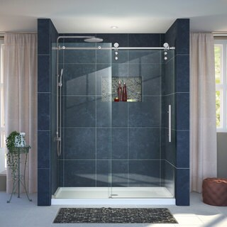 DreamLine Enigma-Z Frameless Sliding Shower Door and 36x60-inch Shower Base