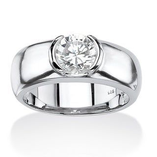 Neno Buscotti Platinum over Silver Men's Cubic Zirconia Ring