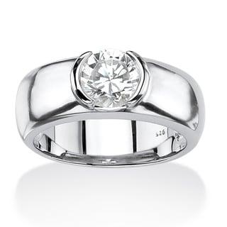 PalmBeach Platinum over Silver Men's Cubic Zirconia Ring