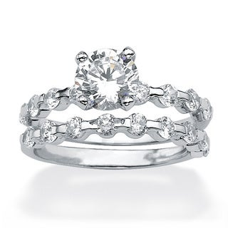 Ultimate CZ Platinum over Silver Round CZ Wedding-style Ring Set