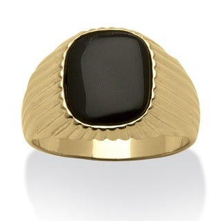 PalmBeach Gold Overlay Men's Onyx Ring