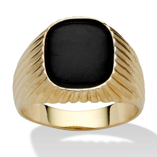 Men's Genuine Onyx 14k Yellow Gold-Plated Ribbed Ring 11337624