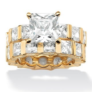 Ultimate CZ Gold Overlay Princess-cut CZ Eternity Wedding-style Ring Set