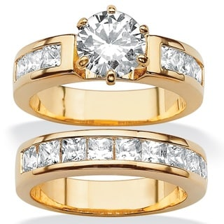 Ultimate CZ Gold Overlay Round CZ Wedding-style Ring Set
