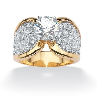 Ultimate CZ Gold Overlay Round Cubic Zirconia Ring