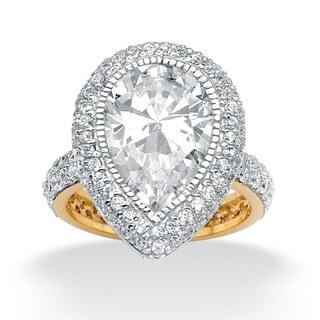 Ultimate CZ Gold over Silver Pear and Round Cubic Zirconia Ring