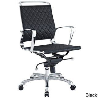 Vibe Modern Leather Black Mid Back Office Chair