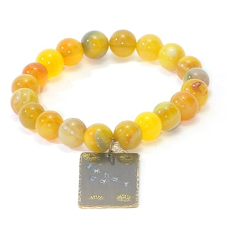 Handmade and Hand Stamped Yellow Agate Stretch Bracelet