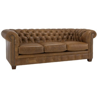 Hancock Tufted Distressed Saddle Brown Italian Leather Sofa
