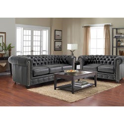 Hancock Tufted Black Italian Leather Sofa and Loveseat