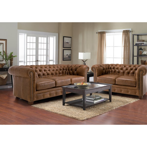Hancock Tufted Distressed Saddle Brown Italian Chesterfield Leather Sofa and Loveseat
