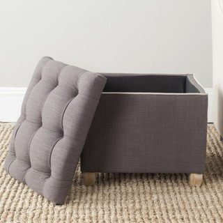 Safavieh Joanie Charcoal Brown Storage Linen Blend Ottoman