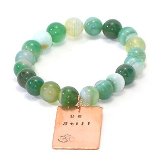 Handmade and Hand-Stamped Green Agate Stretch Bracelet