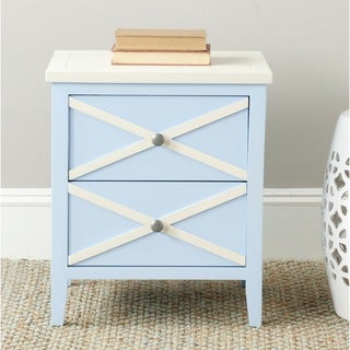 Safavieh Sherrilyn Light Blue/ White Storage 2-drawer Side Table