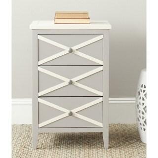 Safavieh Sherrilyn Grey/ Cream 3-drawer Side Table